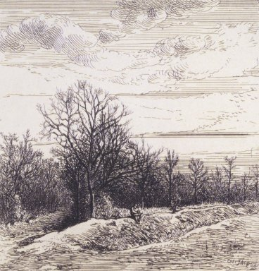 Charles-Émile Jacque (French, 1813-1894). <em>[Untitled] (Landscape)</em>. Etching with Chine collé, 16 13/16 x 12 3/16 in. (42.7 x 31 cm). Brooklyn Museum, Gift of Mrs. Edwin De T. Bechtel, 68.192.22 (Photo: Brooklyn Museum, 68.192.22_transp2372.jpg)
