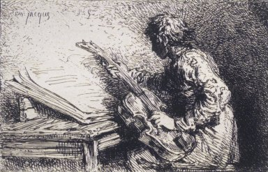 Charles-Émile Jacque (French, 1813-1894). <em>Musician</em>, ca. 1845. Etching on China paper, Image: 3 15/16 x 3 9/16 in. (10 x 9 cm). Brooklyn Museum, Gift of Mrs. Edwin De T. Bechtel, 68.192.23 (Photo: Brooklyn Museum, 68.192.23_transp2373.jpg)