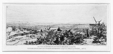Maxime Lalanne (French, 1827-1886). <em>Batterie De Montmarte Prise Du Moulin De La Galette</em>, 1870-1871. Etching on laid paper, 4 1/4 x 9 1/2 in. (10.8 x 24.1 cm). Brooklyn Museum, Gift of Mrs. Edwin De T. Bechtel, 68.192.31 (Photo: Brooklyn Museum, 68.192.31_bw.jpg)