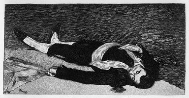 Édouard Manet (French, 1832-1883). <em>The Dead Toreador (Torero mort)</em>, 1868. Etching and aquatint on laid Van Gelder Zonen paper, 5 15/16 x 8 11/16 in. (15.1 x 22 cm). Brooklyn Museum, Gift of Mrs. Edwin De T. Bechtel, 68.192.33 (Photo: Brooklyn Museum, 68.192.33_bw.jpg)
