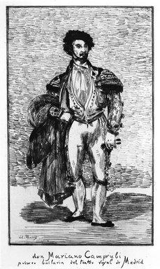 Édouard Manet (French, 1832-1883). <em>Don Mariano Camprubi (Le Bailarin)</em>, 1862. Etching on laid Van Gelder Zonen paper, 18 1/2 x 13 in. (47 x 33 cm). Brooklyn Museum, Gift of Mrs. Edwin De T. Bechtel, 68.192.34 (Photo: Brooklyn Museum, 68.192.34_bw.jpg)