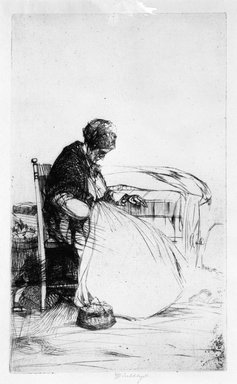 John W. Winkler (American, born Austria, 1890-1979). <em>Marchande Endormie, (Sleeping Peddler Woman)</em>, 1923. Etching on paper, 7 1/4 x 4 7/16 in. (18.4 x 11.3 cm). Brooklyn Museum, Gift of Mrs. Edwin De T. Bechtel, 68.192.55. © artist or artist's estate (Photo: Brooklyn Museum, 68.192.55_bw.jpg)