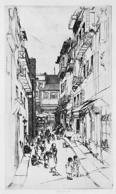 John W. Winkler (American, born Austria, 1890-1979). <em>Ross Alley (Large)</em>. Etching on paper, 9 3/8 x 5 5/8 in. (23.8 x 14.3 cm). Brooklyn Museum, Gift of Mrs. Edwin De T. Bechtel, 68.192.56. © artist or artist's estate (Photo: Brooklyn Museum, 68.192.56_bw.jpg)