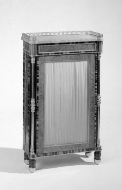 British. <em>Bookcase</em>, ca. 1820. Calamander and zebrawood inlaid on oak and deal, Overall: 36 1/2 x 21 1/2 x 8 1/2 in. (92.7 x 54.6 x 21.6 cm). Brooklyn Museum, Gift of the Estate of Mary Hayward Weir, 68.202.13. Creative Commons-BY (Photo: Brooklyn Museum, 68.202.13_bw.jpg)