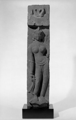 <em>Bas Relief Sculpture from a Temple</em>, ca. 11th century. Sandstone, 25 1/4 x 5 1/2 x 4 in. (64.1 x 14 x 10.2 cm). Brooklyn Museum, Gift of Mr. and Mrs. Paul E. Manheim, 68.206.3. Creative Commons-BY (Photo: Brooklyn Museum, 68.206.3_acetate_bw.jpg)