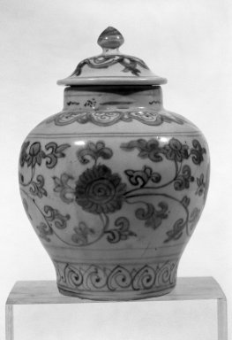 <em>Jar with Cover</em>, second half 16th century. Porcelain with underglaze, H (without cover): 4 5/8 in. (11.7 cm). Brooklyn Museum, Gift of Mr. and Mrs. Paul E. Manheim, 68.206.5a-b. Creative Commons-BY (Photo: Brooklyn Museum, 68.206.5a-b_view1_acetate_bw.jpg)