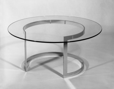 Neal Small Designs, Inc.. <em>Coffee Table</em>, ca. 1968. Glass, chromium plated steel, 16 x 36 in. (40.6 x 91.4 cm). Brooklyn Museum, Gift of Neal Small, 68.20a-b. Creative Commons-BY (Photo: Brooklyn Museum, 68.20a-b_bw_IMLS.jpg)