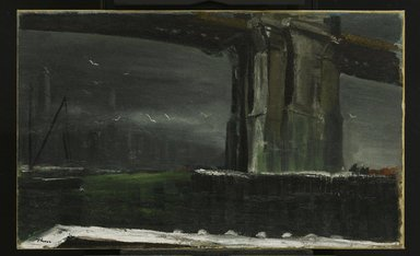 William Thon (American, 1906-2000). <em>Under the Brooklyn Bridge</em>, 1944. Oil on canvas, Image: 22 1/4 x 36 1/4 in. (56.5 x 92.1 cm). Brooklyn Museum, Gift of Midtown Galleries, 68.211. © artist or artist's estate (Photo: Brooklyn Museum, 68.211_PS1.jpg)