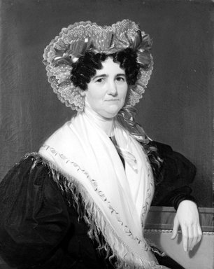 William Sidney Mount (American, 1807-1868). <em>Mrs. Geromus Johnson</em>, 1832. Oil on canvas, 34 x 26 15/16 in. (86.4 x 68.4 cm). Brooklyn Museum, Dick S. Ramsay Fund and Healy Purchase Fund B, 68.213.2 (Photo: Brooklyn Museum, 68.213.2_bw.jpg)