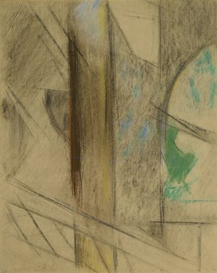 Joseph Stella (American, born Italy, 1877-1946). <em>Study for Brooklyn Bridge</em>, 1922. Pastel on medium-weight laid paper, 22 1/2 x 18 in. (57.2 x 45.7 cm). Brooklyn Museum, Dick S. Ramsay Fund, 68.214 (Photo: Brooklyn Museum, 68.214_PS2.jpg)