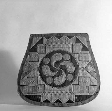 Micmac (Mi'Kmaq). <em>Quilled Panel, possibly from the side of a box or a seat cover</em>, late 19th century. Birchbark, quills, 11 13/16 x 12 3/16 in.  (30 x 31 cm). Brooklyn Museum, Gift of Jack Lenor Larsen, 68.217.2. Creative Commons-BY (Photo: Brooklyn Museum, 68.217.2_bw.jpg)