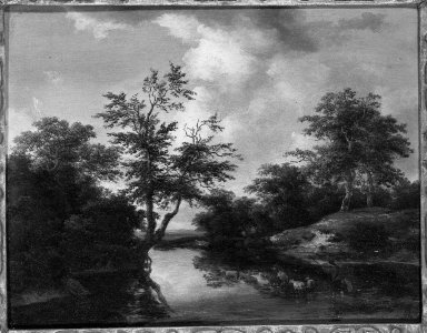 Unknown. <em>The Ford</em>. Oil on panel, 9 1/8 x 11 3/4 in.  (23.2 x 29.8 cm). Brooklyn Museum, Gift of Mrs. Ernest Vietor, 68.23 (Photo: Brooklyn Museum, 68.23_framed_bw.jpg)