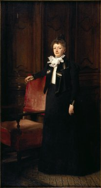 John Singer Sargent (American, born Italy, 1856-1925). <em>Mrs. Charles Huntington (later Jane, Lady Huntington)</em>, 1898. Oil on canvas, 93 5/16 x 51 1/4 in. (237 x 130.2 cm). Brooklyn Museum, A. Augustus Healy Fund, 68.24 (Photo: Brooklyn Museum, 68.24_SL3.jpg)