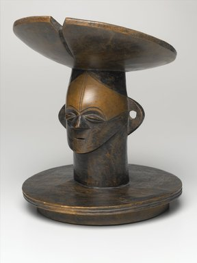 Mangbetu. <em>Lid with Figurative Head</em>, 19th century. Wood, stain, 11 x 9 x 9 in. (27.9 x 22.9 x 22.9 cm). Brooklyn Museum, Ella C. Woodward Memorial Fund, 68.33. Creative Commons-BY (Photo: Brooklyn Museum, 68.33_PS1.jpg)