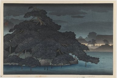 Kawase Hasui (Japanese, 1883-1957). <em>Evening Rain on the Pine Island, from an untitled series of views of Mitsubishi Villa in Fukagawa</em>, 1920. Woodblock color print, 9 1/2 x 14 1/2 in. (24.1 x 36.8 cm). Brooklyn Museum, Carll H. de Silver Fund, 68.35.4 (Photo: Brooklyn Museum, 68.35.4_IMLS_PS3.jpg)