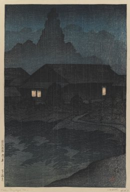 Kawase Hasui (Japanese, 1883-1957). <em>Tsuta Hot Springs, Mutsu Province, from the series Souvenirs of Travel I</em>, 1919. Woodblock color print, 14 x 9 1/2 in. (35.6 x 24.1 cm). Brooklyn Museum, Carll H. de Silver Fund, 68.35.5 (Photo: Brooklyn Museum, 68.35.5_IMLS_PS3.jpg)