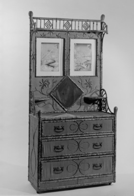 Nimura & Sato Company (late 1880s-1890s). <em>Chest of Drawers</em>, ca. 1905-1915. Woven cane, bamboo, brass, mirror, 78 x 37 1/2 x 18 in.  (198.1 x 95.3 x 45.7 cm). Brooklyn Museum, Gift of Herbert Hemphill, 68.47.1. Creative Commons-BY (Photo: Brooklyn Museum, 68.47.1_bw.jpg)