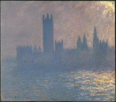 Claude Monet (French, 1840-1926). <em>Houses of Parliament, Sunlight Effect (Le Parlement, effet de soleil)</em>, 1903. Oil on canvas, 32 x 36 1/4 in. (81.3 x 92.1 cm). Brooklyn Museum, Bequest of Grace Underwood Barton, 68.48.1 (Photo: Brooklyn Museum, 68.48.1_colorcorrected_SL1.jpg)