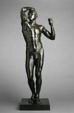 Auguste Rodin (French, 1840-1917). <em>The Age of Bronze, medium-sized model, first reduction (L'Age d'airain, première réduction)</em>, 1876 (reduction probably 1903-04); cast 1967. Bronze, 41 1/4 x 15 x 13 in., 65 lb. (104.8 x 38.1 x 33 cm, 29.48kg). Brooklyn Museum, Gift of B. Gerald Cantor, 68.49. Creative Commons-BY (Photo: Brooklyn Museum, 68.49_SL1.jpg)