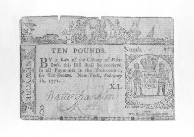 <em>Ten Pound Note Printed on Rag Paper</em>, ca.1771. Rag Paper, 2 9/16 x 1319 in. (6.5 x 3350.3 cm). Brooklyn Museum, Gift of Reverend Cornelius Vander Naald, 68.6.5. Creative Commons-BY (Photo: Brooklyn Museum, 68.6.5_bw.jpg)