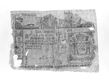 American. <em>Ten Shilling Note</em>, ca.1771. Rag paper, Sheet: 2 15/16 x 4 1/4 in. (7.5 x 10.8 cm). Brooklyn Museum, Gift of Reverend Cornelius Vander Naald, 68.6.6. Creative Commons-BY (Photo: Brooklyn Museum, 68.6.6_bw.jpg)