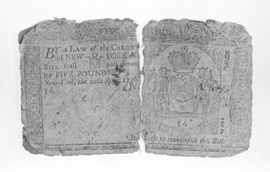 <em>Ten Shilling Note Printed on Rag Paper</em>, ca.1756. Rag Paper, 2 5/16 x 3 15/16 in. (5.9 x 10 cm). Brooklyn Museum, Gift of Reverend Cornelius Vander Naald, 68.6.7. Creative Commons-BY (Photo: Brooklyn Museum, 68.6.7_bw.jpg)