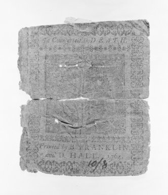 <em>Five Pound Note Printed on Rag Paper</em>, ca 1764. Rag Paper, 2 5/16 x 3/8 in. (5.9 x 1 cm). Brooklyn Museum, Gift of Reverend Cornelius Vander Naald, 68.6.9. Creative Commons-BY (Photo: Brooklyn Museum, 68.6.9_bw.jpg)