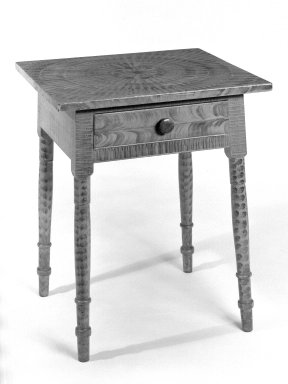 <em>Table with Sponge-work Painted Decoration</em>, ca. 1880. Painted pine, maple, and tulip-poplar, 29 3/4 x 24 1/8 x 21 7/8 in. (75.6 x 61.3 x 55.6 cm). Brooklyn Museum, Gift of Fred Wichmann, 68.7.1. Creative Commons-BY (Photo: Brooklyn Museum, 68.7.1_bw.jpg)