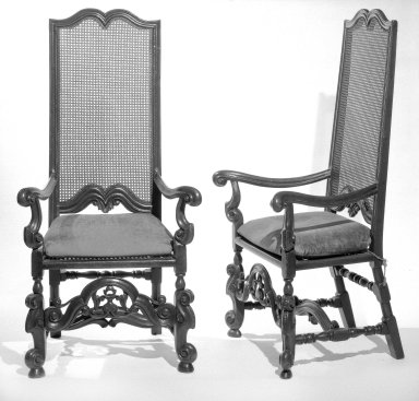 <em>Cane Back Armchair, One of Pair</em>, ca. 1900. Walnut?, cane, 53 1/2 x 26 x 25 in. (135.9 x 66 x 63.5 cm). Brooklyn Museum, Gift of Mrs. Daniel Catlin, 68.86.1. Creative Commons-BY (Photo: , 68.86.1_68.86.2_bw.jpg)