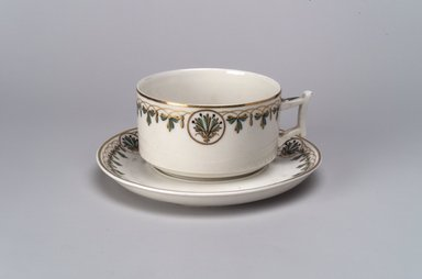Union Porcelain Works (1863-ca. 1922). <em>Large Cup and Saucer</em>, ca. 1880. Porcelain, (a) Cup: 2 1/8 x 4 5/8 x 3 3/4 in. (5.4 x 11.7 x 9.5 cm). Brooklyn Museum, Gift of Franklin Chace, 68.87.10a-b. Creative Commons-BY (Photo: Brooklyn Museum, 68.87.10a-b.jpg)