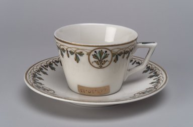Union Porcelain Works (1863-ca. 1922). <em>Small Cup and Saucer</em>, ca. 1880. Porcelain, (a) Cup: 1 15/16 x 3 1/2 x 2 3/4 in. (4.9 x 8.9 x 7 cm). Brooklyn Museum, Gift of Franklin Chace, 68.87.11a-b. Creative Commons-BY (Photo: Brooklyn Museum, 68.87.11a-b.jpg)