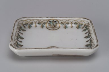Union Porcelain Works (1863-ca. 1922). <em>Butter Dish</em>, ca. 1880. Porcelain, 5/8 x 3 1/8 x 2 1/4 in. (1.6 x 7.9 x 5.7 cm). Brooklyn Museum, Gift of Franklin Chace, 68.87.12. Creative Commons-BY (Photo: Brooklyn Museum, 68.87.12.jpg)