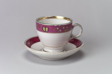 Union Porcelain Works (1863-ca. 1922). <em>Coffee Cup and Saucer</em>, ca. 1879. Porcelain, Cup (a): 2 5/8 x 3 7/8 x 2 15/16 in. (6.7 x 9.8 x 7.5 cm). Brooklyn Museum, Gift of Franklin Chace, 68.87.14a-b. Creative Commons-BY (Photo: Brooklyn Museum, 68.87.14a-b.jpg)