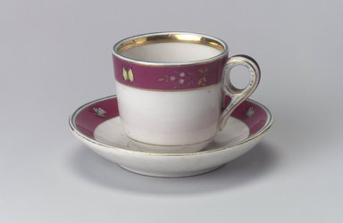 Union Porcelain Works (1863-ca. 1922). <em>Cup and Saucer</em>, ca. 1879. Porcelain, Cup (a): 2 1/2 x 3 9/16 x 2 5/8 in. (6.4 x 9 x 6.7 cm). Brooklyn Museum, Gift of Franklin Chace, 68.87.15a-b. Creative Commons-BY (Photo: Brooklyn Museum, 68.87.15a-b.jpg)