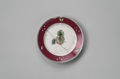 Union Porcelain Works (1863-ca. 1922). <em>Fruit Plate</em>, ca. 1880. Porcelain, 1 x 7 3/8 x 7 3/8 in. (2.5 x 18.7 x 18.7 cm). Brooklyn Museum, Gift of Franklin Chace, 68.87.17. Creative Commons-BY (Photo: Brooklyn Museum, 68.87.17.jpg)