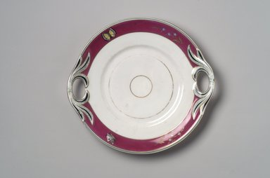 Union Porcelain Works (1863-ca. 1922). <em>Cake Plate</em>, ca. 1879. Porcelain, 1 1/4 x 10 x 9 3/8 in. (3.2 x 25.4 x 23.8 cm). Brooklyn Museum, Gift of Franklin Chace, 68.87.21. Creative Commons-BY (Photo: Brooklyn Museum, 68.87.21.jpg)