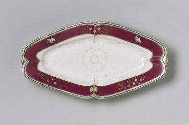 Union Porcelain Works (1863-ca. 1922). <em>Celery Dish</em>, ca. 1879. Porcelain, 1 x 9 x 4 7/8 in. (2.5 x 22.9 x 12.4 cm). Brooklyn Museum, Gift of Franklin Chace, 68.87.23. Creative Commons-BY (Photo: Brooklyn Museum, 68.87.23.jpg)
