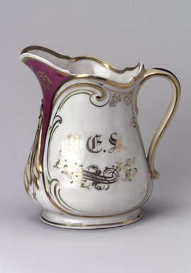 Union Porcelain Works (1863-ca. 1922). <em>Pitcher</em>, ca. 1879. Porcelain, 8 1/4 x 7 1/2 x 5 1/8 in. (21 x 19.1 x 13 cm). Brooklyn Museum, Gift of Franklin Chace, 68.87.27. Creative Commons-BY (Photo: Brooklyn Museum, 68.87.27.jpg)