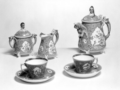 Union Porcelain Works (1863-ca. 1922). <em>Tea Cup and Saucer</em>, ca. 1876. Porcelain, cup: 2 3/8 in. (6 cm). Brooklyn Museum, Gift of Franklin Chace, 68.87.28a-b. Creative Commons-BY (Photo: , 68.87.28a-b-.32a-b_bw.jpg)