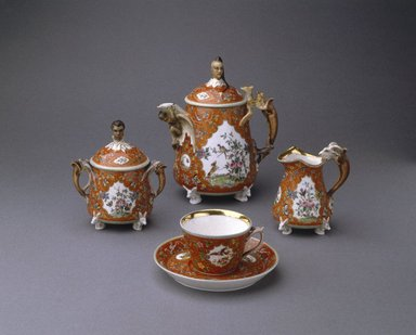 Union Porcelain Works (1863-ca. 1922). <em>Cream Pitcher</em>, 1876. Porcelain, 3 7/8 x 3 1/2 in. (9.8 x 8.9 cm). Brooklyn Museum, Gift of Franklin Chace, 68.87.31. Creative Commons-BY (Photo: , 68.87.29a-b_68.87.30a-b_68.87.31_68.87.32a-b_SL1.jpg)