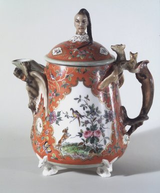 Union Porcelain Works (1863-ca. 1922). <em>Teapot with Cover</em>, ca. 1876. Porcelain, Height: 6 3/4 in. (17.1 cm). Brooklyn Museum, Gift of Franklin Chace, 68.87.32a-b. Creative Commons-BY (Photo: Brooklyn Museum, 68.87.32.jpg)