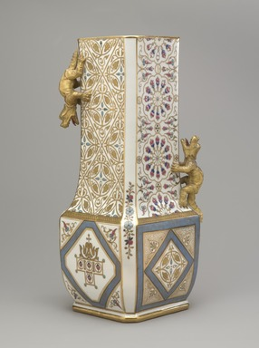 Union Porcelain Works (1863-ca. 1922). <em>Vase</em>, ca. 1884. Porcelain, 14 7/8 x 6 1/4 x 6 1/4 in. (37.8 x 15.9 x 15.9 cm). Brooklyn Museum, Gift of Franklin Chace, 68.87.44. Creative Commons-BY (Photo: Brooklyn Museum, 68.87.44_view2_PS9.jpg)