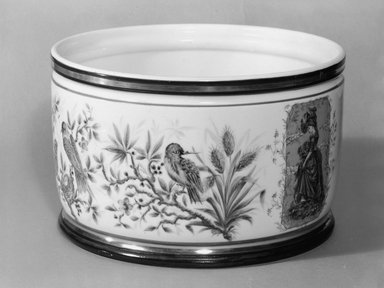 Union Porcelain Works (1863-ca. 1922). <em>Plant Container or Cache Pot</em>, ca. 1877. Porcelain, 5 7/8 x 9 3/8 x 9 3/8 in. (14.9 x 23.8 x 23.8 cm). Brooklyn Museum, Gift of Franklin Chace, 68.87.47. Creative Commons-BY (Photo: Brooklyn Museum, 68.87.47_bw.jpg)