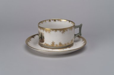 Union Porcelain Works (1863-ca. 1922). <em>Tea Cup and Saucer</em>, ca. 1894. Porcelain, (a) Tea Cup: 2 x 4 1/4 x 3 3/8 in. (5.1 x 10.8 x 8.6 cm). Brooklyn Museum, Gift of Franklin Chace, 68.87.49a-b. Creative Commons-BY (Photo: Brooklyn Museum, 68.87.49a-b.jpg)