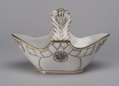 Union Porcelain Works (1863-ca. 1922). <em>Candy Basket</em>, ca. 1880. Porcelain, 4 1/2 x 7 1/16 x 3 7/8 in. (11.4 x 17.9 x 9.8 cm). Brooklyn Museum, Gift of Franklin Chace, 68.87.5. Creative Commons-BY (Photo: Brooklyn Museum, 68.87.5.jpg)