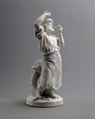 Union Porcelain Works (1863-ca. 1922). <em>Statuette of Blacksmith</em>, ca. 1876. Unglazed porcelain, 12 x 4 3/4 x 4 3/4 in. (30.5 x 12.1 x 12.1 cm). Brooklyn Museum, Gift of Franklin Chace, 68.87.55. Creative Commons-BY (Photo: Brooklyn Museum, 68.87.55_threequarter_SL1.jpg)