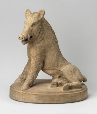 Union Porcelain Works (1863-ca. 1922). <em>Figure of a Boar</em>, late 19th century. Unglazed terracotta, 12 1/2 x 11 3/8 x 8 1/2 in. (31.8 x 28.9 x 21.6 cm). Brooklyn Museum, Gift of Franklin Chace, 68.87.57. Creative Commons-BY (Photo: Brooklyn Museum, 68.87.57.jpg)