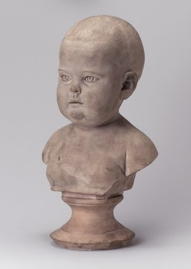 Karl L. H. Mueller (American, born Germany, 1820-1887). <em>Bust of a Baby on Pedestal</em>, late 19th century. Unglazed terracotta, 12 x 7 1/4 x 5 1/2 in. (30.5 x 18.4 x 14 cm). Brooklyn Museum, Gift of Franklin Chace, 68.87.58. Creative Commons-BY (Photo: Brooklyn Museum, 68.87.58.jpg)