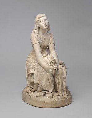 "Karl L. H. Mueller (American, born Germany, 1820-1887). <em>Figure, ""Stitch, Stitch, Stitch,""</em> 1877. Terra cotta, 21 1/2 x 12 x 14 1/2 in. (54.6 x 30.5 x 36.8 cm). Brooklyn Museum, Gift of Franklin Chace, 68.87.59. Creative Commons-BY (Photo: Brooklyn Museum, 68.87.59_front_PS9.jpg)"