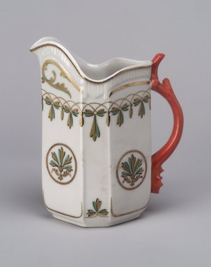 Union Porcelain Works (1863-ca. 1922). <em>Cream Pitcher</em>, ca. 1880. Porcelain, 5 5/8 x 4 3/4 x 2 7/8 in. (14.3 x 12.1 x 7.3 cm). Brooklyn Museum, Gift of Franklin Chace, 68.87.6. Creative Commons-BY (Photo: Brooklyn Museum, 68.87.6.jpg)